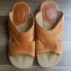 Dr. Martens brown genuine leather slide